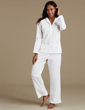 Pure Cotton Textured Long Sleeve Pyjama Set, WHITE MIX, catlanding