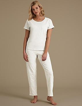 Printed Short Sleeve Pyjama Set, GREY MIX, catlanding