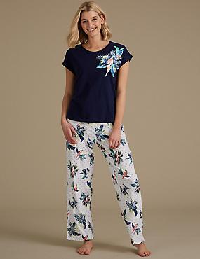 Pure Cotton Parrot Print Pyjama Set, DARK BLUE MIX, catlanding