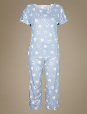 Heart Print Cropped Pyjama Set   , LIGHT BLUE MIX, catlanding