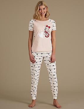 Pure Cotton Minnie Mouse™ Pyjama Set, OATMEAL MIX, catlanding