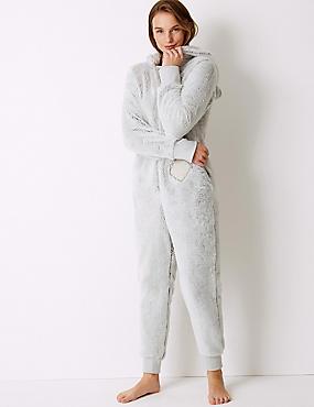 Fleece Textured Long Sleeve Onesie, GREY MIX, catlanding