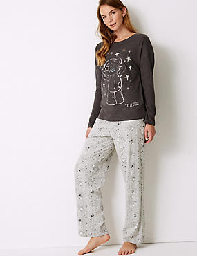 Cotton Rich Pyjama Set, NAVY MIX, catlanding