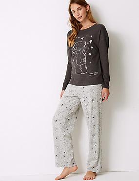 Cotton Rich Pyjama Set, GREY MIX, catlanding