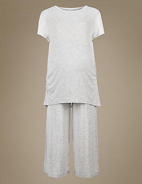 Maternity Cropped Short Sleeve Pyjama Set, GREY MIX, catlanding