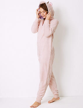 Fleece Unicorn Long Sleeve Onesie, PINK MIX, catlanding