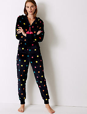 Fleece Spotted Long Sleeve Onesie , NAVY MIX, catlanding