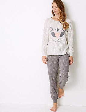 Cotton Rich Koala Long Sleeve Pyjama Set, GREY MIX, catlanding