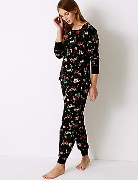 Cotton Rich Safari Print Pyjama Set, BLACK MIX, catlanding