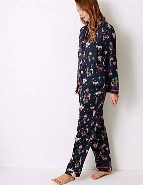 Satin Safari Print Long Sleeve Pyjama Set, NAVY MIX, catlanding