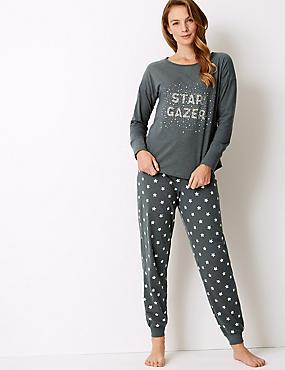 Cotton Rich Star Print Pyjama Set, GREY MIX, catlanding