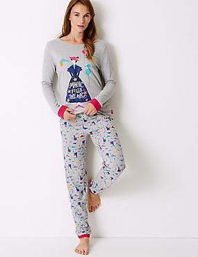 Pure Cotton Mary Poppins Pyjama Set, NAVY MIX, catlanding
