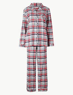Pure Cotton Checked Long Sleeve Pyjama Set, GREY MIX, catlanding