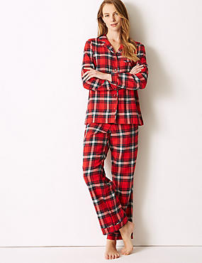 Pure Cotton Checked Long Sleeve Pyjama Set , RED MIX, catlanding