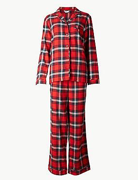 Pure Cotton Checked Long Sleeve Pyjama Set , RED MIX, catlanding