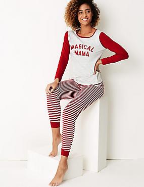 Magical Mama Long Sleeve Pyjama Set, GREY MIX, catlanding