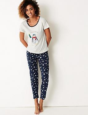Penguin Print Short Sleeve Pyjama Set, OATMEAL MIX, catlanding