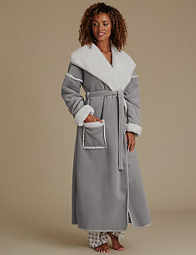 Long Sleeve Borg Coatigan Dressing Gown