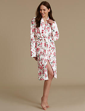 Pure Cotton Floral Print Waffle Dressing Gown