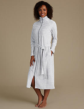 Striped Zip Through Dressing Gown
