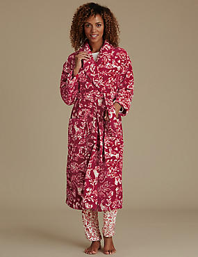 Red Woodland Print Shimmer Dressing Gown