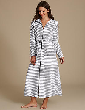 Cotton Rich Striped Dressing Gown