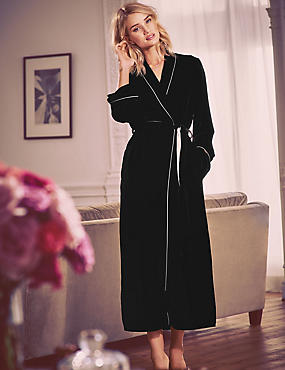 Long Sleeve Silk Velour Dressing Gown