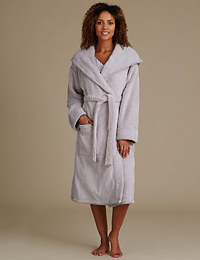 Long Sleeve Hooded Dressing Gown