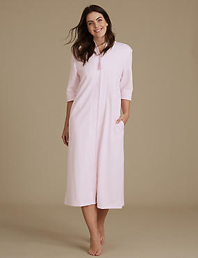 Quilted Zip Through Dressing Gown, SOFT PINK, catlanding