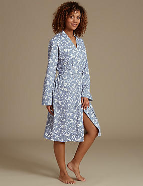 Pure Cotton Floral Print Dressing Gown