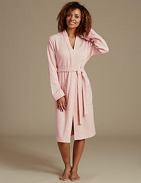 Pure Cotton Pin Spotted Print Dressing Gown