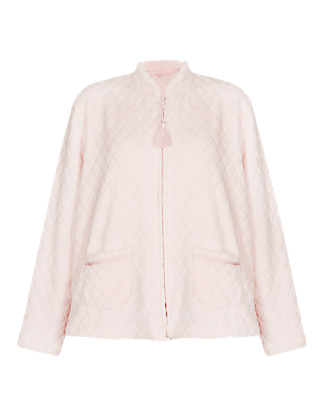 Soft Embossed Floral & Quilted Fleece Bed Jacket Clothing