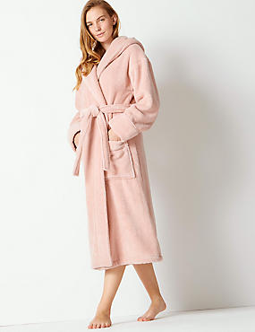 Pure Cotton Towelling Dressing Gown, PINK, catlanding
