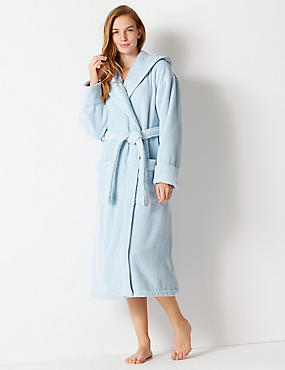 Pure Cotton Towelling Dressing Gown, SKY BLUE, catlanding