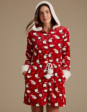 Fleece Penguin Print Dressing Gown