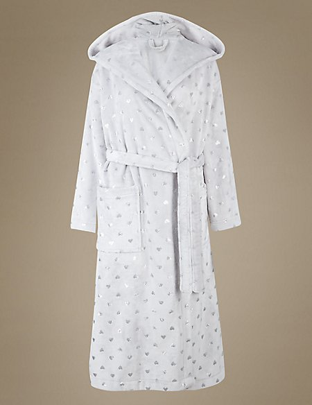 Foil Heart Print Hooded Dressing Gown