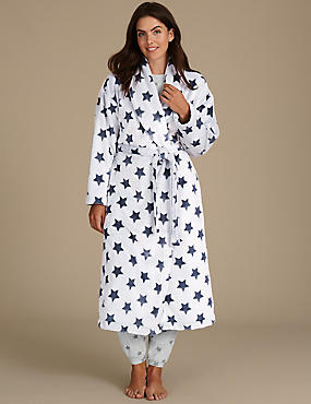 Star Print Shimmer Dressing Gown