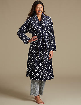Fleece Heart Print Dressing Gown
