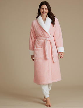 Two Tone Borg Trim Dressing Gown