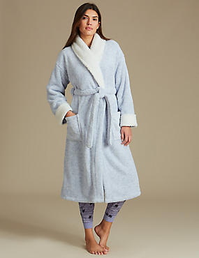 Fleece Tie Front Dressing Gown
