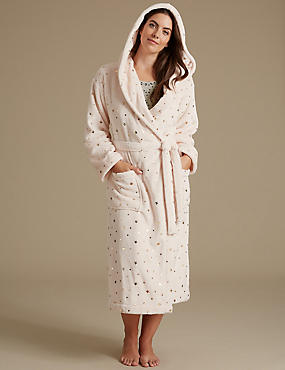 Fleece Tie Front Foil Star Print Dressing Gown