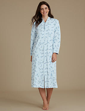 Floral Print Quilted Dressing Gown, BLUE MIX, catlanding