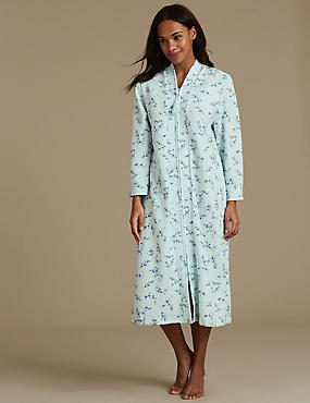 Floral Print Quilted Dressing Gown, LIGHT MINT, catlanding