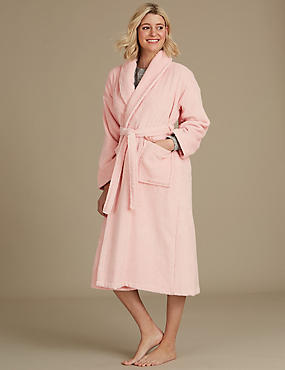Pure Cotton Towelling Dressing Gown, SOFT PINK, catlanding
