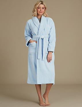 Pure Cotton Towelling Dressing Gown, BLUE MIX, catlanding