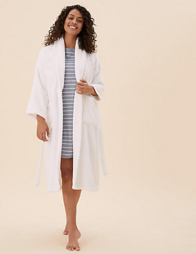 Pure Cotton Towelling Dressing Gown, WHITE MIX, catlanding