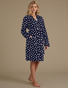 Pure Cotton Spot Print Waffle Dressing Gown, NAVY MIX, catlanding