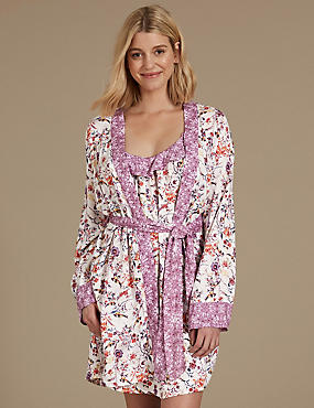 Printed Wrap Dressing Gown, OATMEAL MIX, catlanding