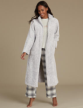 Long Sleeve Zip-up Dressing Gown
