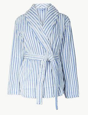 Fleece Textured Short Dressing Gown, BLUE MIX, catlanding